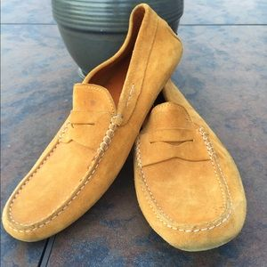 TODS Men Suede Mustard Flat Loafers Italy Sz 9 1/2
